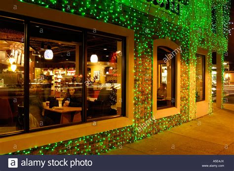 coffee shop lighting guide starbucks coffee shop with lights during the big bright stock photo royalty free