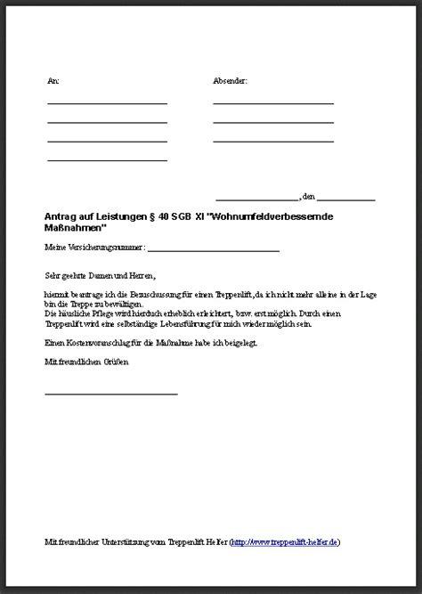 Vorlage Antrag Auf Kostenübernahme antrag auf zuschuss f 252 r einen treppenlift der