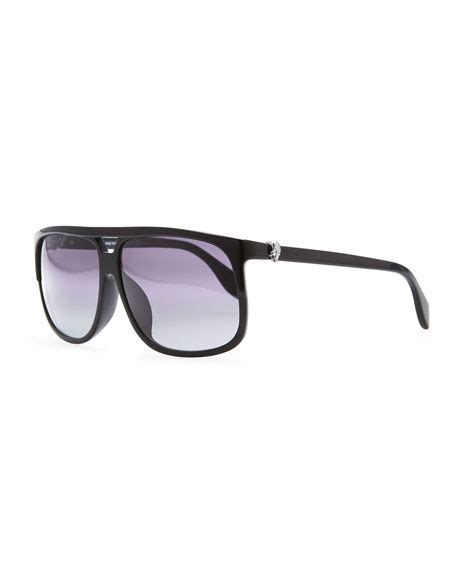 Mcqueen Square Black mcqueen silver skull square sunglasses black