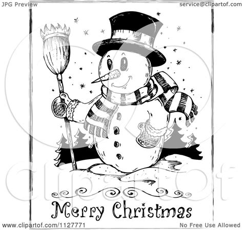 cartoon   merry christmas greeting  sketched snowman  black  white royalty