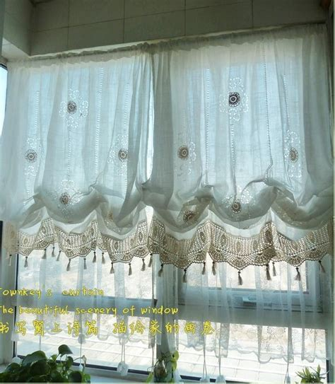Adjustable balloon shade crochet hook sheer curtain scalloped window curtain ebay