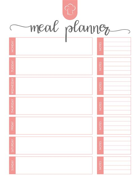 printable monthly meal planner musings of an average mom weekly menu planner