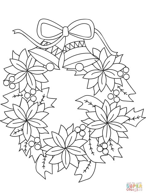 wreath bow coloring page christmas wreath coloring page free printable coloring pages