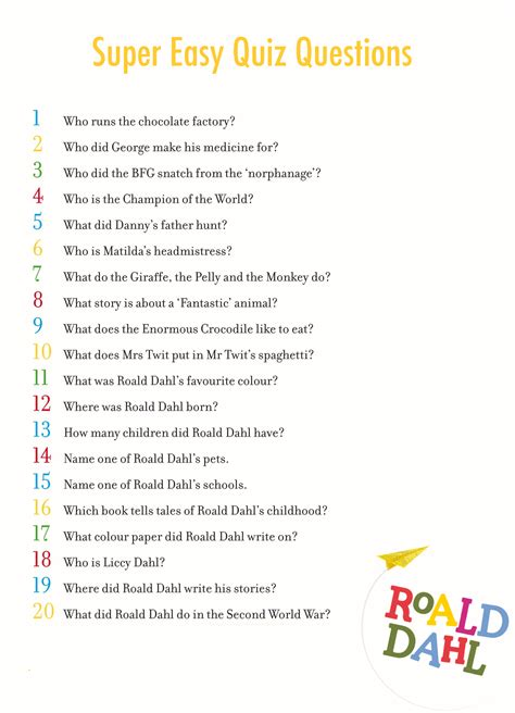 quiz questions list super easy roald dahl quiz answers