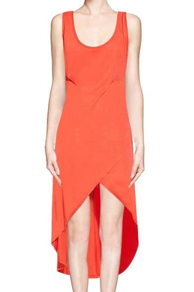 Asymmetric Hem Tank Dress asymmetric hem scoop neck high low tank dress