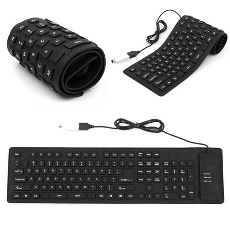 Keyboard Laptop Portable lightweight ultra slim portable usb foldable silent silicon keyboard for sony for ps2