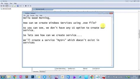 write exle how to create a windows service using exe file