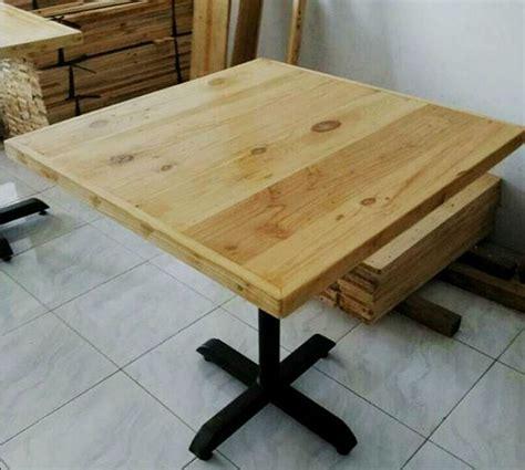 Meja Belajar Dari Kayu Jati meja cafe minimalis kayu jati belanda rangka besi indoor