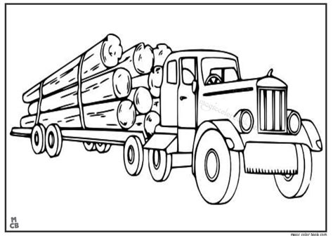 logging semi truck coloring pages