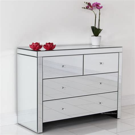 Venetian Mirrored Glass 2 Over 2 Drawer Chest Bedroom Mirrored Glass Bedroom Furniture