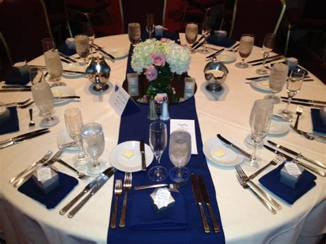 Navy Blue Table Runners Wedding by White Linen With Navy Blue Table Runner And Napkins