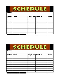 class schedule form freeology