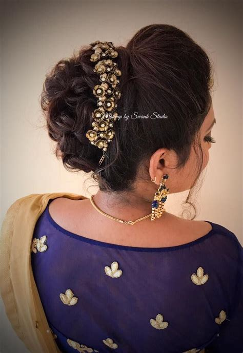 Indian Wedding Hair Bun Pin by Bridal Updo For Reception By Swank South Indian