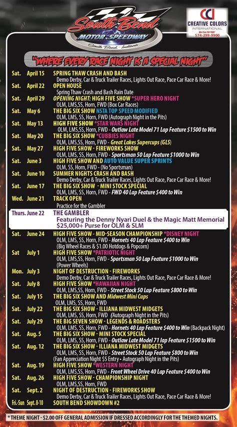 motor speedway race schedule south bend motor speedway schedule