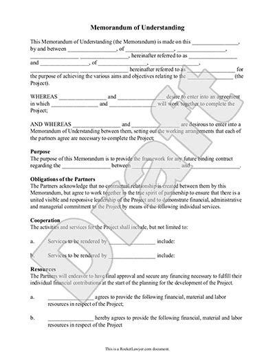 Memorandum Of Understanding Form Mou Template With Sle Mou Document Template