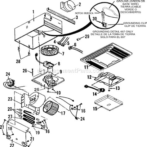 exhaust fan parts name broan 657 parts list and diagram ereplacementparts com