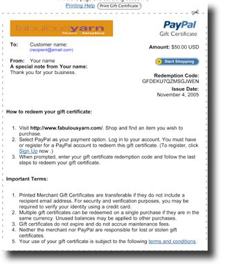 Instant Gift Cards Paypal - knitting yarn gift certificate