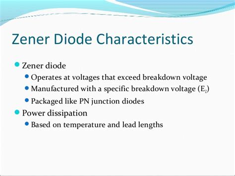 power diodes characteristics zener diodes