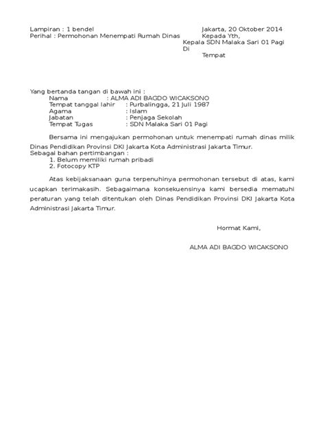surat permohonan menempati rumah dinas docx
