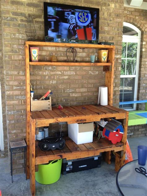 patio tv stand 95 best images about potting bench outdoor bakers rack on