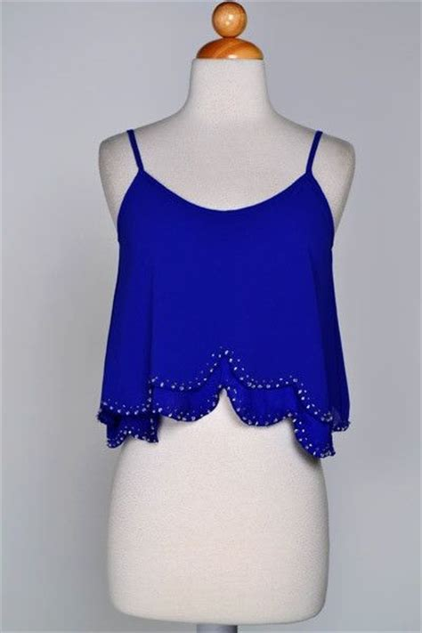 Crop Top Blue scalloped crop top royal blue