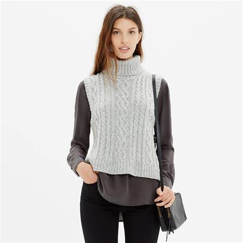turtleneck knit vest lyst madewell turtleneck sweater vest in gray