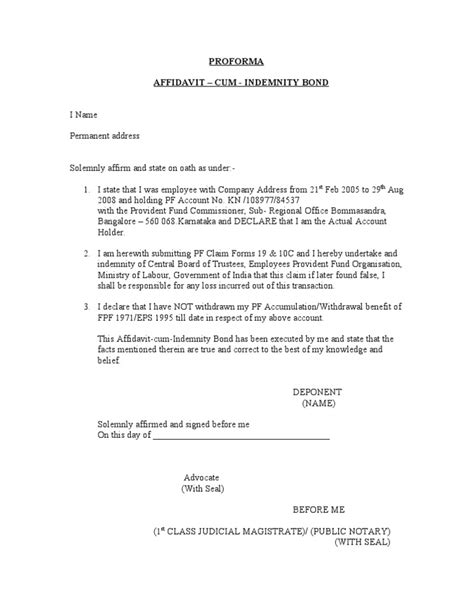 Withdrawal Letter Of Indemnification Affidavit Indemnity Bond