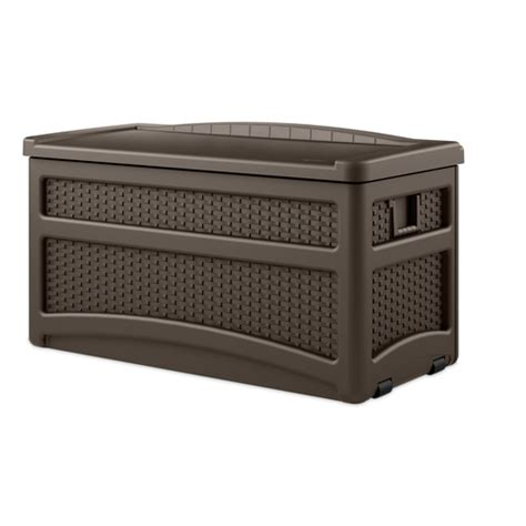suncast resin wicker storage deck box from lowes storage - Lowes Outside Storage Containers