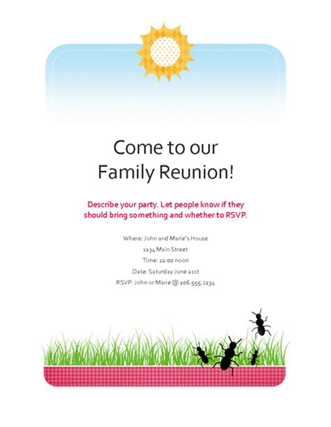 family reunion book template birthday invitation template invitation templates
