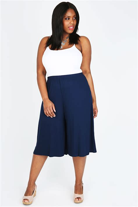 Cullote Basic Navy navy jersey culottes plus size 16 to 32