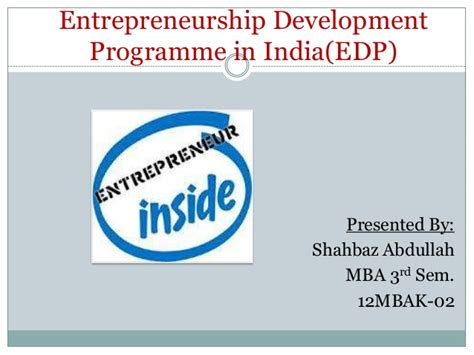 Mba In Entrepreneurship In India by Edp In India