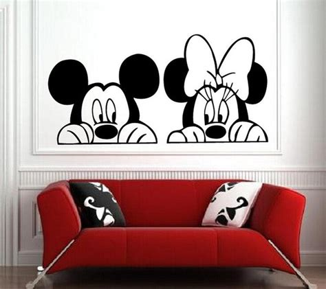 mickey mouse and minnie mouse wall sticker home decor aliexpress com buy cartoon mickey minnie mouse