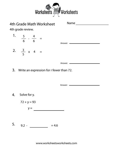 4th Grade Math Worksheets Pdf by Fourth Grade Math Practice Worksheet Free Printable