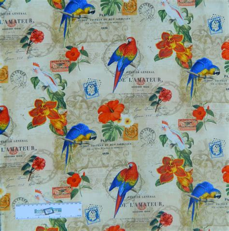 Bird Quilting Fabric by Patchwork Quilting Fabric Rainforest Birds Parrots Sewing