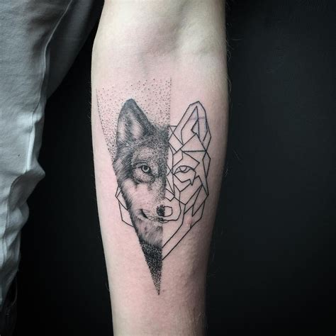 geometric wolf tattoo geometric wolf on forearm animal designs