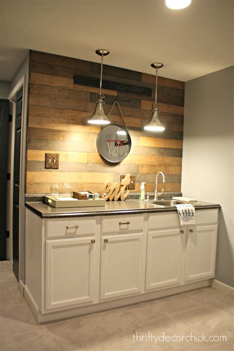 kitchenette design my new favorite wood planked wall from thrifty decor chick