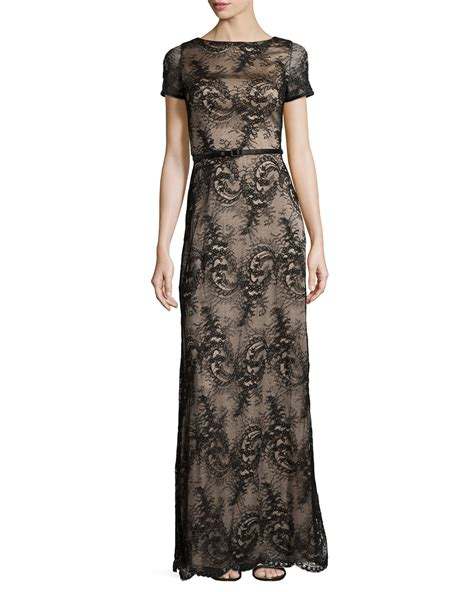 catherine deane sleeve belted lace dress in black lyst