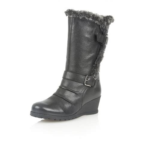 krissy black leather mid calf wedge boots