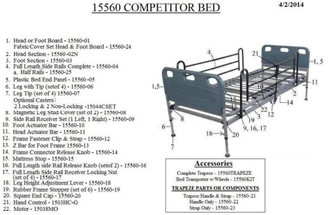 competitor semi electric bed replacement parts parts for