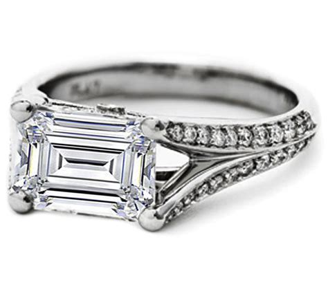 engagement ring emerald cut horizontal split band pave
