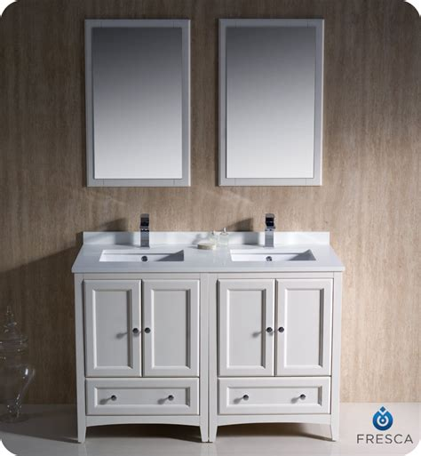 "48"" Fresca Oxford (FVN20 2424AW) Traditional Double Sink Bathroom Vanity   Antique White"