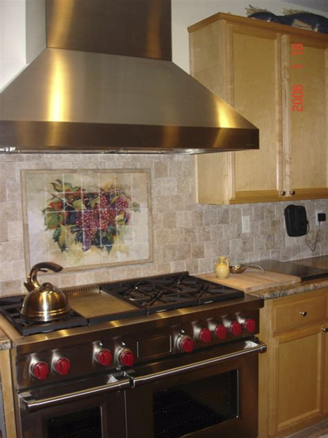 traditional kitchen backsplash wine grape tumbled marble kitchen backsplash traditional