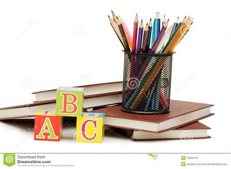 pictures of books and pencils back to school concept with books and pencils stock image