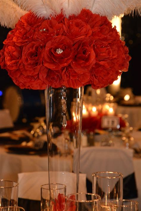 themes rosefeather gala decor by apaintedframe com red rose feather wedding
