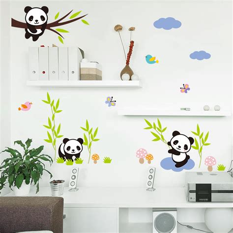 panda wallpaper for bedroom cartoon forest panda bamboo birds tree wall stickers for kids room baby nursery room