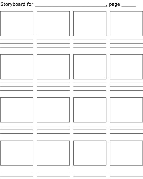 free pages templates free storyboard template