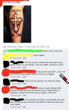 leviticus tattoo fail know your bible and look how quickly he starts spewing
