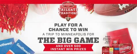 Tailgate Traditions Sweepstakes - the community coffee tailgate traditions promo returns instant win game plus