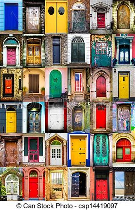 colorful doors collage stock photo image 41305174 colorful collage of variety of doors stock photographs