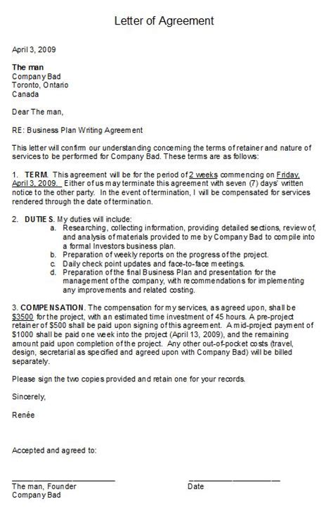 Letter Of Agreement To Work Free Printable Letter Of Agreement Form Generic